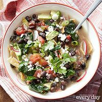 Black Bean and Kale Tortilla Soup ~ Just made it and it was so easy and very flavorful.