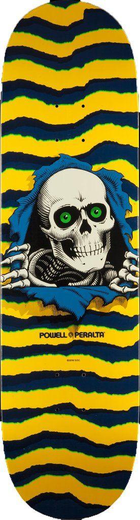 """Powell Peralta Ripper Skateboard Deck 8.5"""" - Yellow/Navy"""