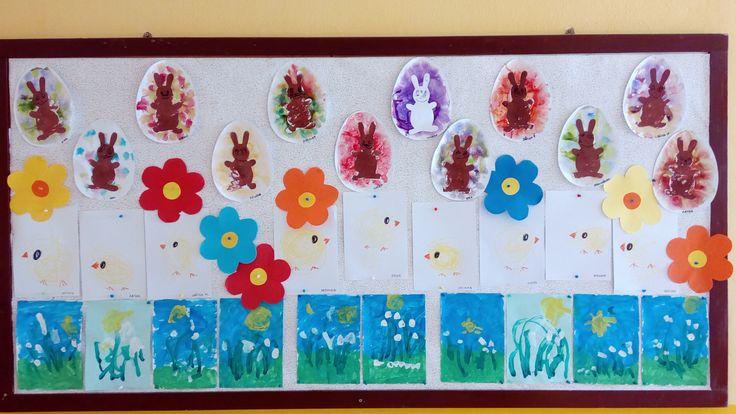 Jarná nástenka - Kvety, kuriatka, zajačiky