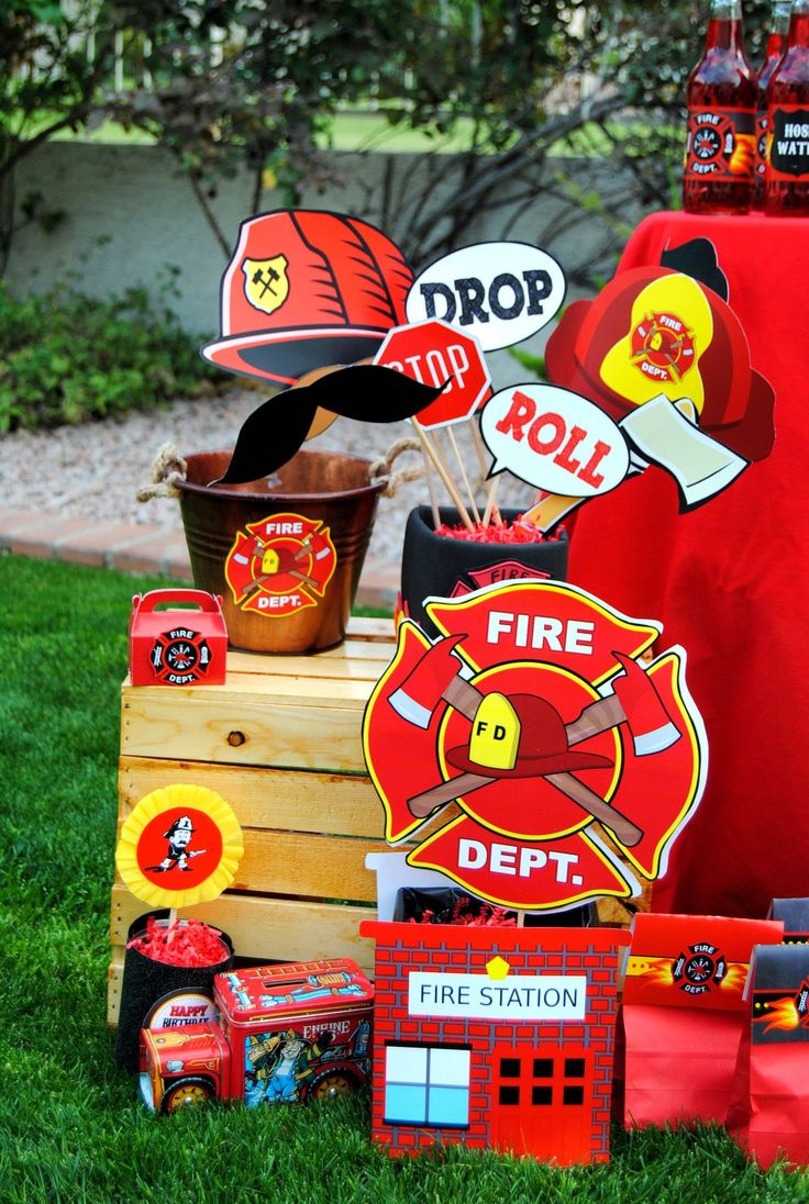 Fireman birthday fire fighter party centerpiece fireman party decorations