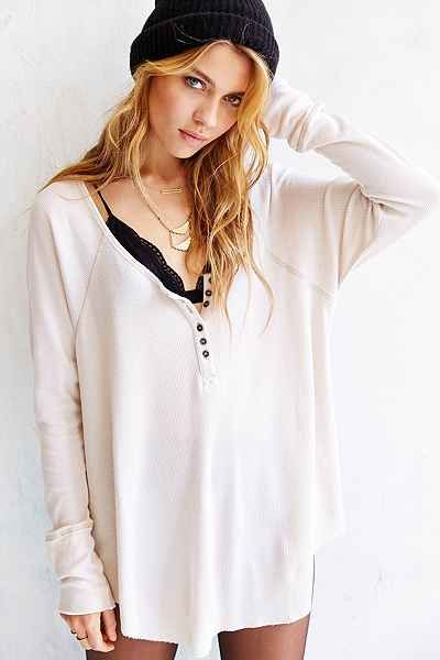 Truly Madly Deeply Boyfriend Thermal Henley Shirt - Urban Outfitters $49 Ivory Medium