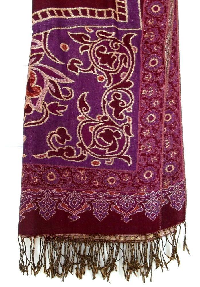 15bcd58cfaf PASHMINA & SILK Scarf/Wrap/Shawl in Burgundy Plum Purple Red Gold ...