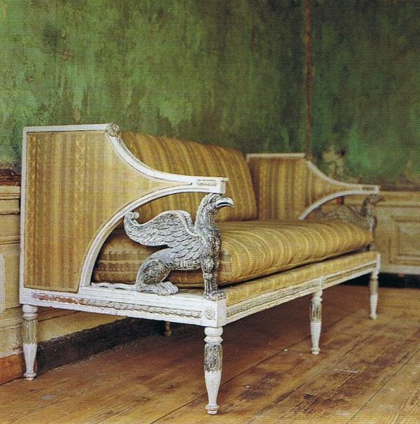 late Gustavian sofa with griffons. The World of Interiors magazine. Miguel Flores Vianna photography