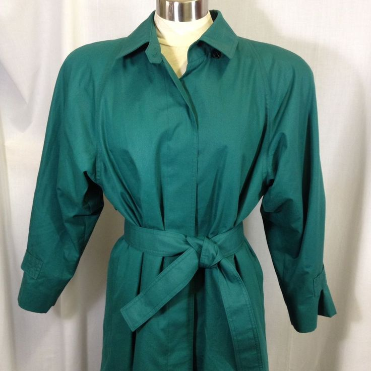 London Fog Thinsulate Teal Green Peacock Belted Trench Coat Removable Lining 12P #LondonFog #Trench #Outdoor