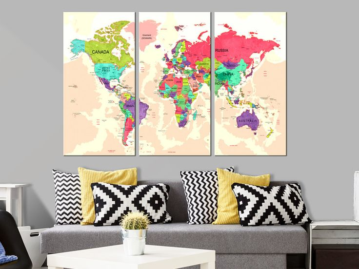 Obraz tryptyk mapa świata art 120x80 cm k-A-0070-b - artgeist - Wydruki na płótnie
