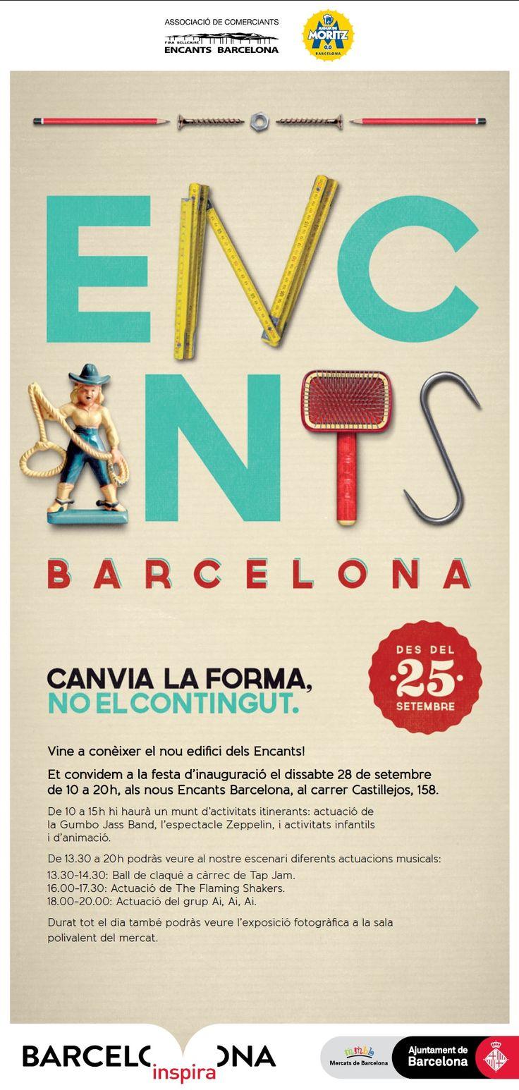 Cartell festa inauguració del Mercat dels Encants: Encants Barcelona #encantsbarcelona