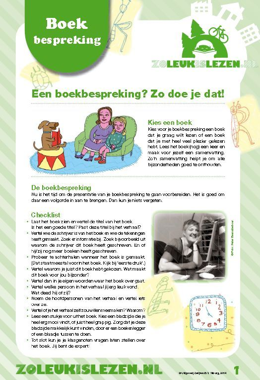 Hoe kinderen zelf een boekbespreking kunnen maken in het kort, om te downloaden bij Zoleukislezen.nl