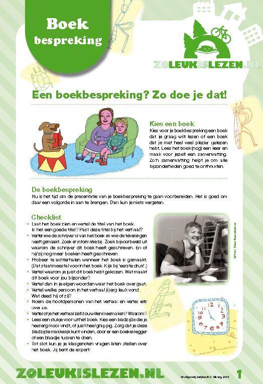 Hoe kinderen zelf een boekbespreking kunnen maken in het kort, om te downloaden bij Zoleukislezen.nl