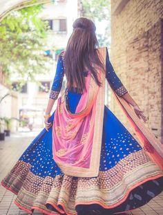 Blue #Wedding #Lehenga With Pink Dupatta.