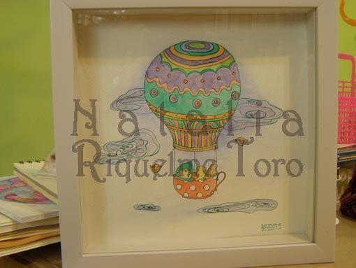 Enzo, Vainilla y Bellota tinta china y acuarelas, 30x30 cm  (regalo de bautizo para el bebé de mis amigos Astrid y Rodrigo)