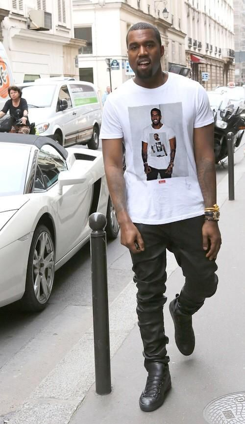 Kanye West wearing a tee with Kanye West <3