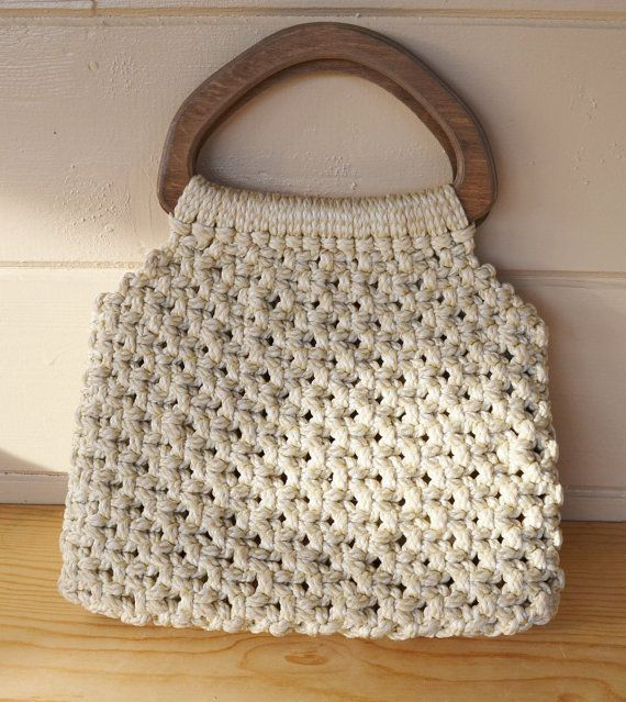 Purse Vintage Macrame Purse with Large Wooden Handles
