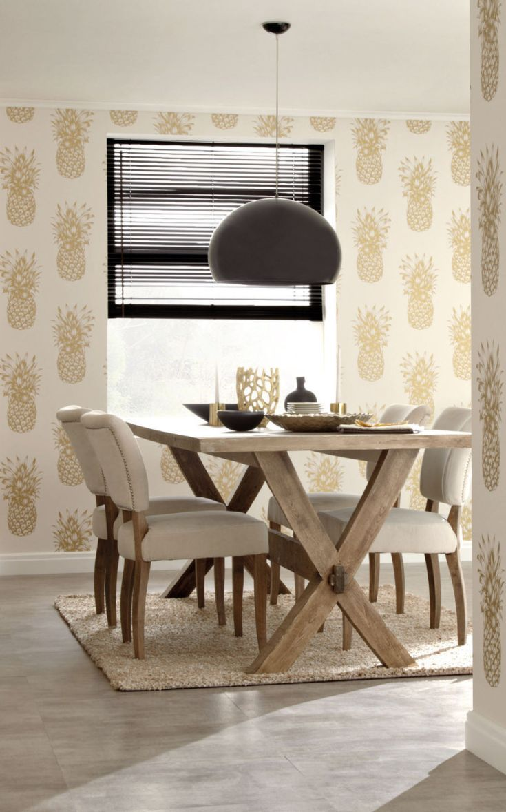 Exceptional How About Some Gold Pineapple Wallpaper In Your Dining Room.