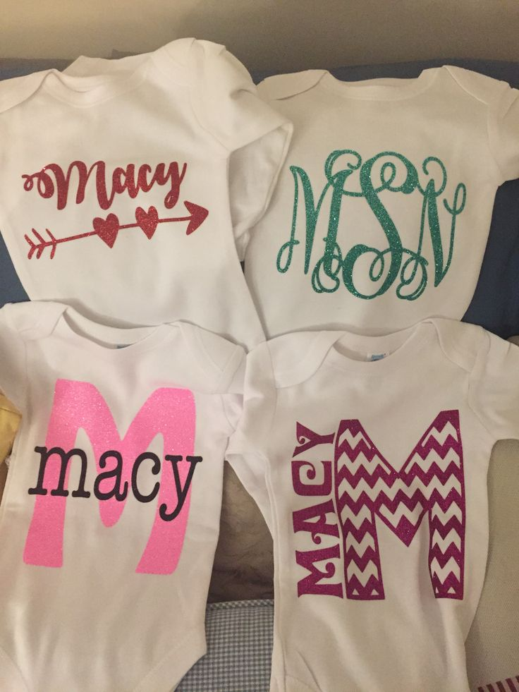 Personalized Baby Onesies With Glitter Heat Transfer Vinyl