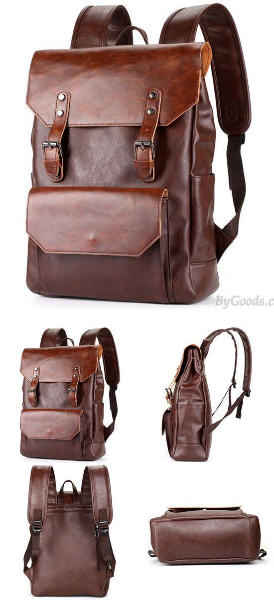 Retro Large Flap Metal Lock Belt Square Men's Brown Strap School Backpack #for big sale! ##backpack #school #college #student #bag #leisure #canvas #rucksack #large