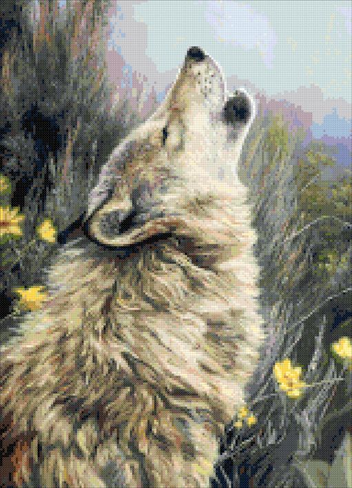 The call - wolf howl cross stitch kit or pattern