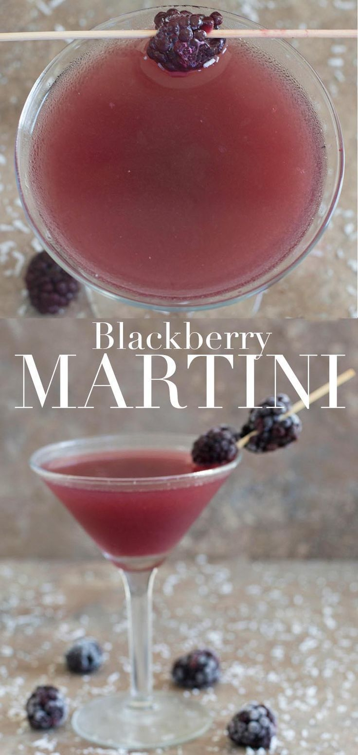 This blackberry martini is a gin martini recipe. I added coconut rum and pineapple juice. This martini should be on your New Year's Eve Cocktail | Happy Hour Cocktails fruity cocktails easy cocktails holiday drinks fun drinks