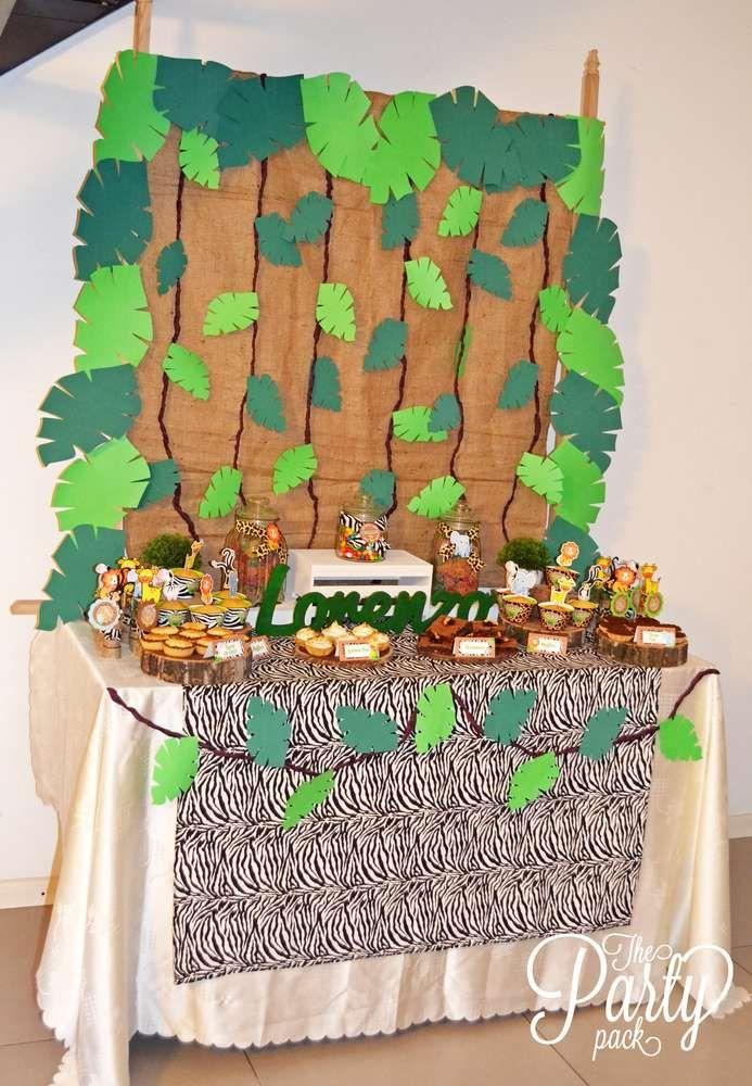 Jungle birthday party ideas jungle safari party ideas cumplea os fiesta cumplea os fiesta - Deco table jungle ...