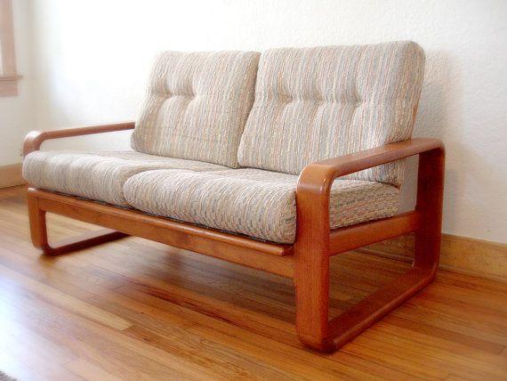 RESERVED - Vintage Danish Style Teak Sofa Loveseat - Mid Century Modern Teak  Loveseat - Vintage Mid-century Modern