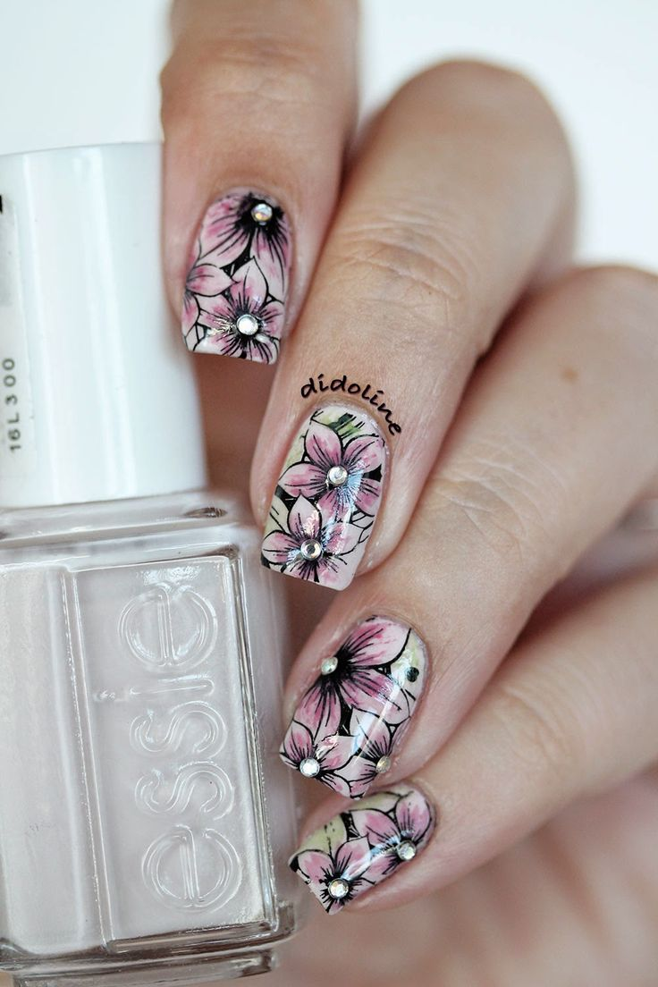 Vintage Watercolor Florals ~ base polish Essie 'Urban Jungle' stamped with floral image from Pueen SE04B plate using Konad black polish. Tinted with very dilute acrylic paints and finished with rhinestones. ~ by Didoline's Nails