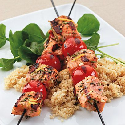 Grilled Rosemary-Salmon Skewers. Kabobs are a barbecue-friendly option ...