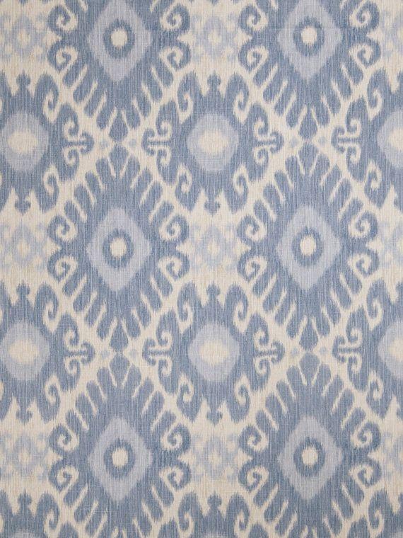 Denim Blue Ikat Upholstery Fabric - Light Blue Curtain Material - Ikat Home Decor - Baby Blue Ikat Pillow Fabric - Ikat Bedroom Decor