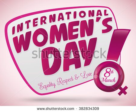 Greeting Women's Day with a glossy exclamation, shiny woman symbol and some principles for this commemoration