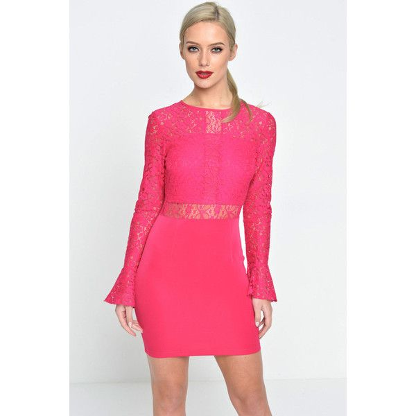 Marc Angelo Kelly Lace Top Bodycon Dress in Fuschia ($20) ❤ liked on Polyvore featuring dresses, pink, pink bodycon dress, bodycon dress, fuschia dress, fuschia pink dress and fuchsia pink dress