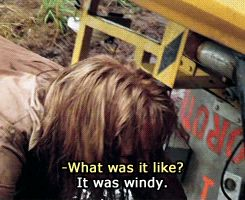 "Twister scene:  Dusty:""What was it like?"" Jo: ""It was windy"""