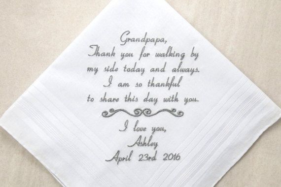 Grandfather of the Bride Gift Grandpa of the Bride Gift Embroidered Wedding Handkerchief Wedding Hankerchief Personalized Wedding Gift