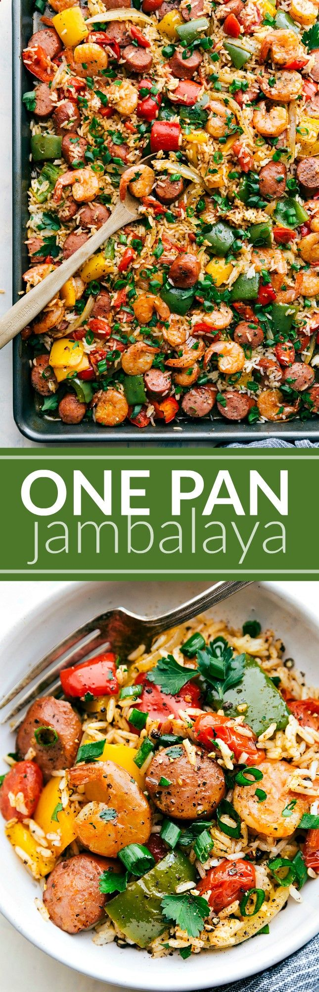 ONE PAN JAMBALAYA! Sausage, shrimp, seasoned veggies, AND rice all cooked together on ONE PAN! Easy 30-minute dinner via chelseasmessyapro...