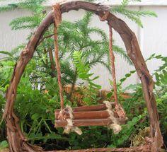 My Handmade Fairy Garden Twig Swing