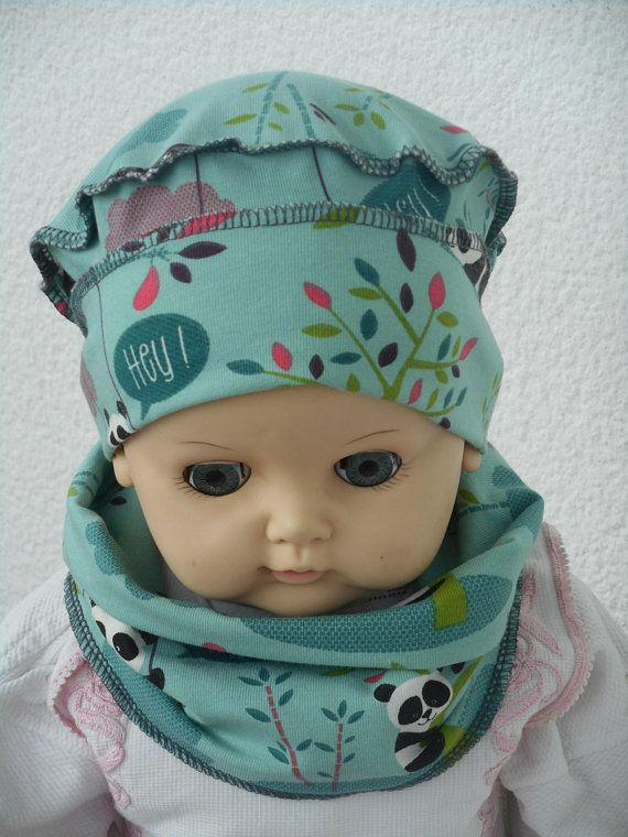 bonnet béret chapeau et snood bébé naissance lin eva kids jersey pandas 4ddde283381