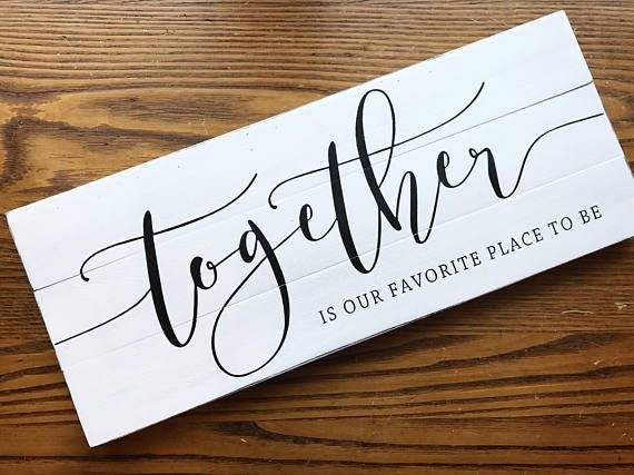 This wood sign is inspired by the popular Fixer Upper style and meshes perfectly into traditional or modern farmhouse decor. Together is our favorite place to be painted in a mix of script + print. It is constructed from either reclaimed & locally milled rough-sawn wood. The mix of crisp calligraphy + rustic wood will incorporate beautifully into any style of decor, especially the fixer upper modern farmhouse style!  SIZE: 20 x 8 (give or take up to 1/2)  This sign is available in 3 ...