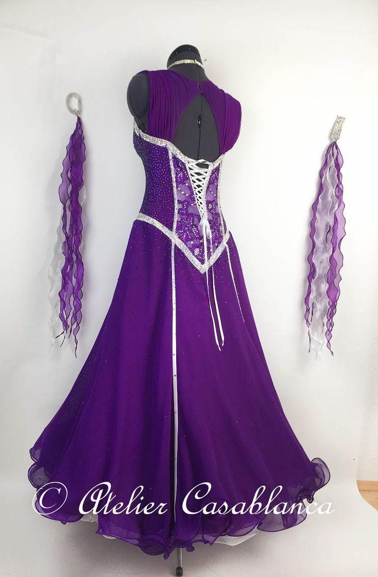 SK-DAG2 ガロールクチュール制作!白のラインが美しい石びっしりの紫&白のスタンダードドレス(9号) | Atelier Casablanca -ダンスドレスの部屋- - 楽天ブログ