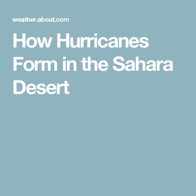 How Hurricanes Form in the Sahara Desert