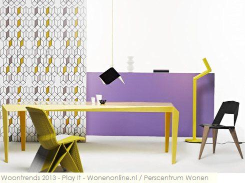 De woontrends van 2013 in vogelvlucht: Play It Een huis is om in te wonen, een interieur is om mee te spelen! De nieuwste collecties meubelen, textiel, verlichting en accessoires verrassen met een perfecte mix van functionaliteit, humor, creativiteit en duurzaamheid.