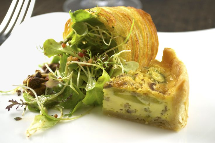... Baby Greens with Caramelized Onion Vinaigrette, Pancetta, Potato Crisp