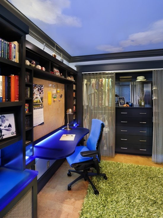 Inspiring Tween Boy Bedroom Ideas With Cool Design : Cool Teen Boys Bedroom  With Cork Board At Desk, Wall And Ceiling Murals Also Green Grass Carpet