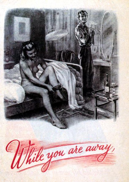 Axis propaganda slandering UK women -- A young British woman gets dressed after a night of passion with an American soldier during World War II, above the words 'While you are away', August 1944. The rest of the caption reads 'The Yanks are 'lease-lending' your women. Their pockets full of cash and no work to do...'. A German flyer aimed at demoralising English troops in France. (Photo by Galerie Bilderwelt/Getty Images)
