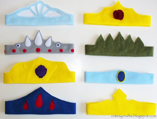Cutesy Crafts: Felt Princess Crowns   (like the elastic method here)