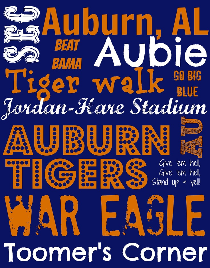 Auburn Tigers Subway Art 11 x 14 canvas by EstSignsFeedsOrphans