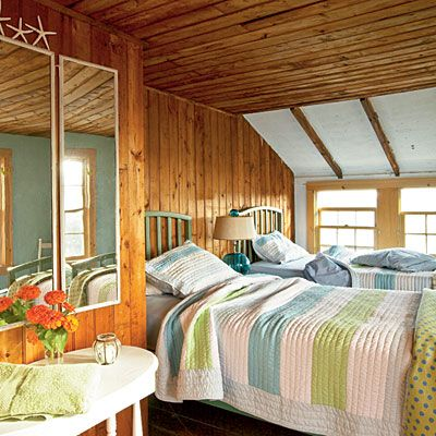 twin bed quilts.  One boy colors one girl colors.Guest Room, Beach House, Decor Ideas, Beach Cottages, Cottages Bedrooms, Nautical Bedrooms, Maine Cottage, Cabin Bedrooms, Twin Bedrooms