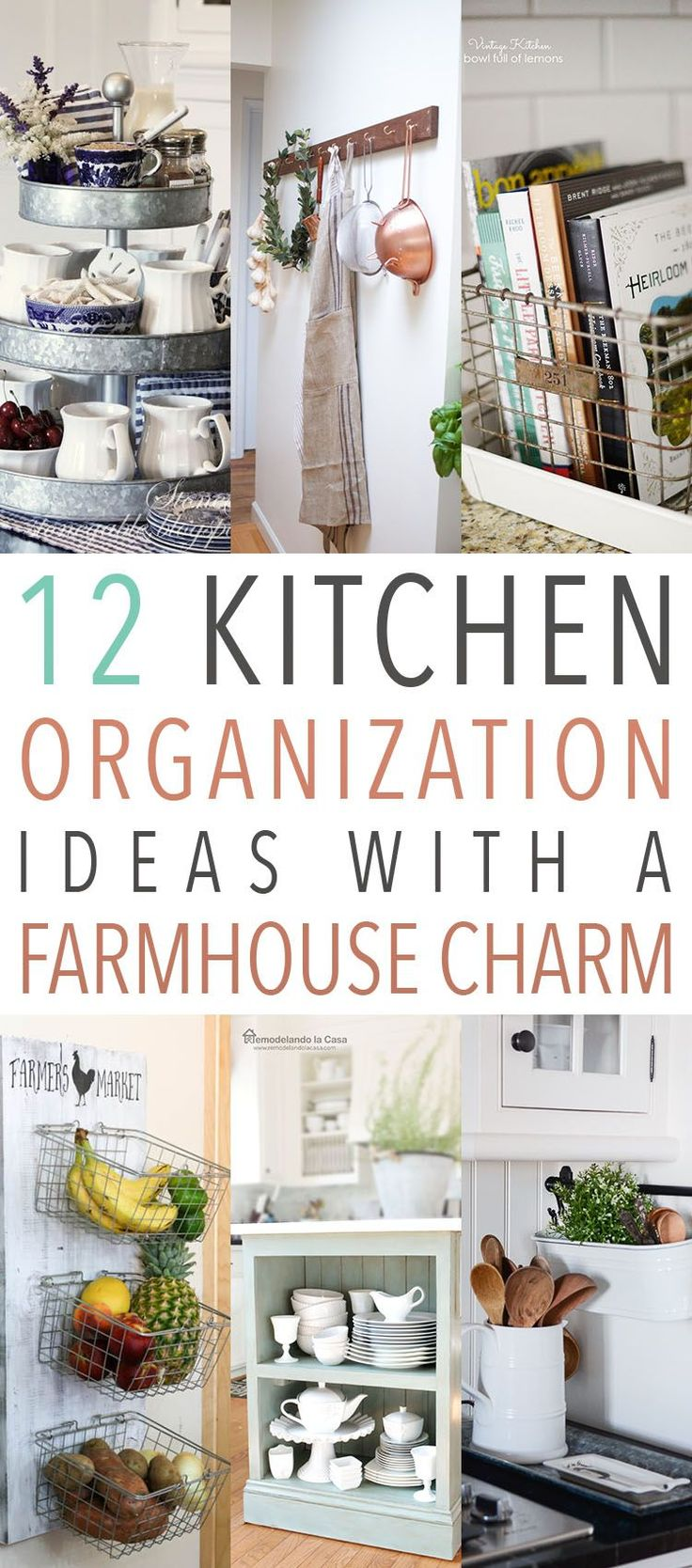 12 Kitchen Organization Ideas With A Farmhouse Charm! Come and get the Fixer Upper Style even when organizing!