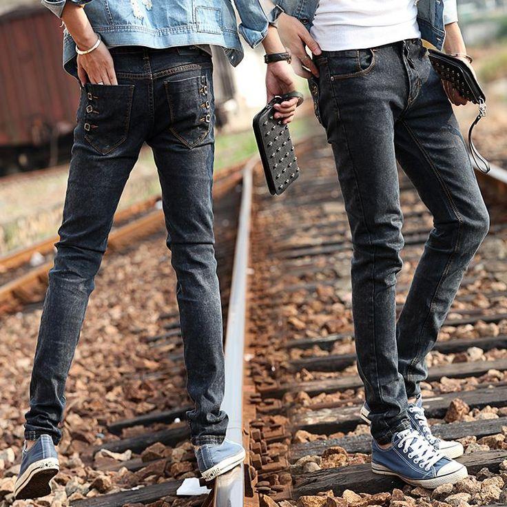 Мужчины 2015 мужчины промывочной воды черные джинсы тонкие эластичные узкие брюки карандаш брюки мужчины