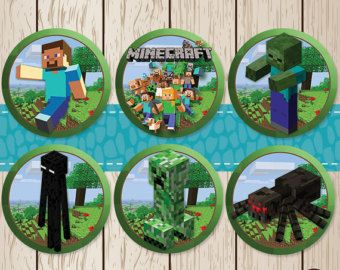 Printable Minecraft Stickers / Cupcake Toppers 6 Set | Minecraft Birthday | Minecraft Cupcake Toppers | Minecraft Party Favors