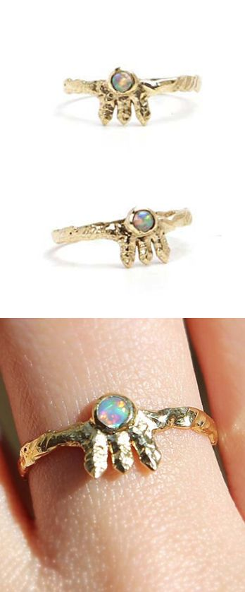 Opal Gold Ring, Natural Australian Solid Opal Gold Ring