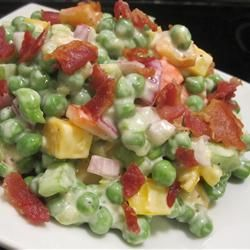 Green Pea Salad With Cheese Recipe  Maybe this will make me like green peas ... or I'll just make with another type of pea/bean :)