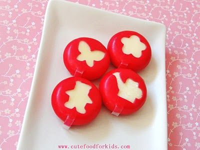 Use mini cookie cutters to cut Babybel cheeses. It will be easier to cut the wax wrape if the Babybel has been sitting in room temperature for a while. Or you can heat up your cutter in hot water for a few seconds then wipe it dry with a paper towel before cutting.