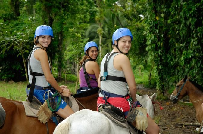 San Jose Combo Tour: Horseback Riding and Sarapiquí River Boat Ride Explore the rainforests of Costa Rica's Sarapiquí region at a leisurely pace on this full-day guided combo tour. Departing from San Jose, your scenic route takes you through the lush Braulio Carrillo National Park. Hop into a boat in Puerto Viejo de Sarapiquí and meander down a river, with crocs, sloths and herons dotting the shoreline. Take a horseback ride into the jungle and listen for monkeys and tanage...